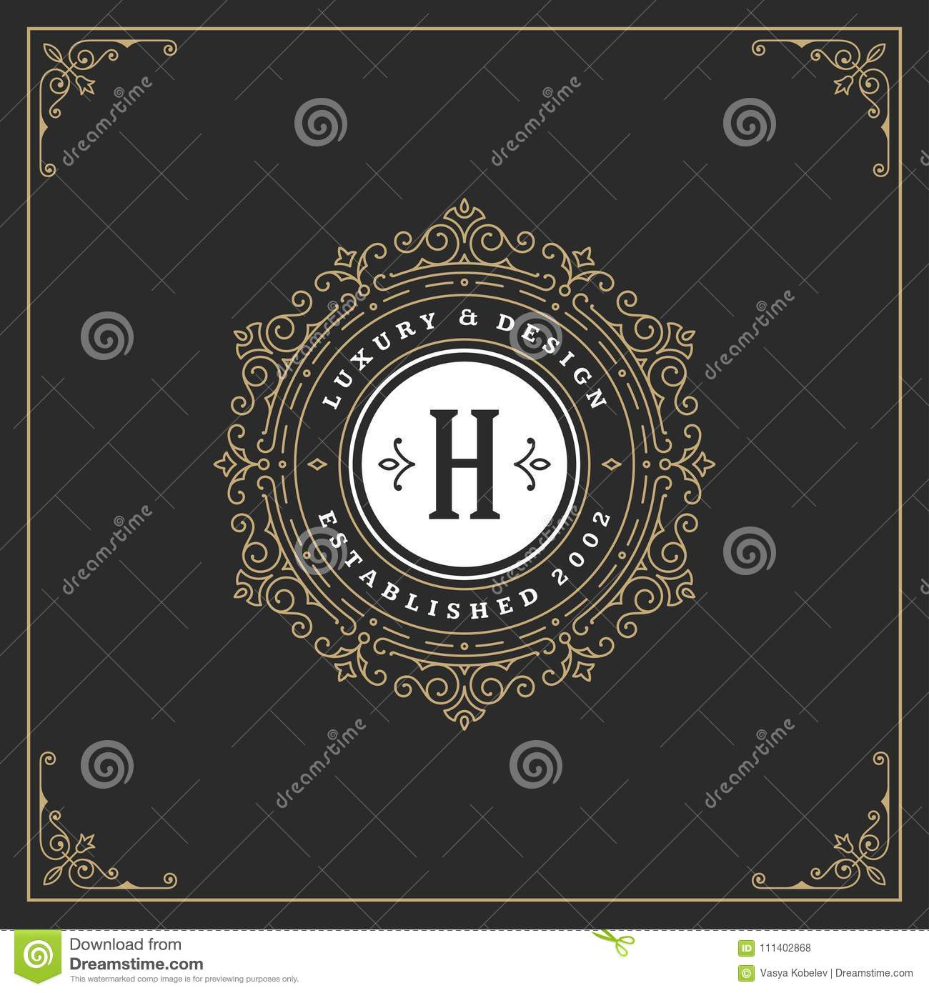 Ornament monogram logo design template vector flourishes calligraphic vintage frame.