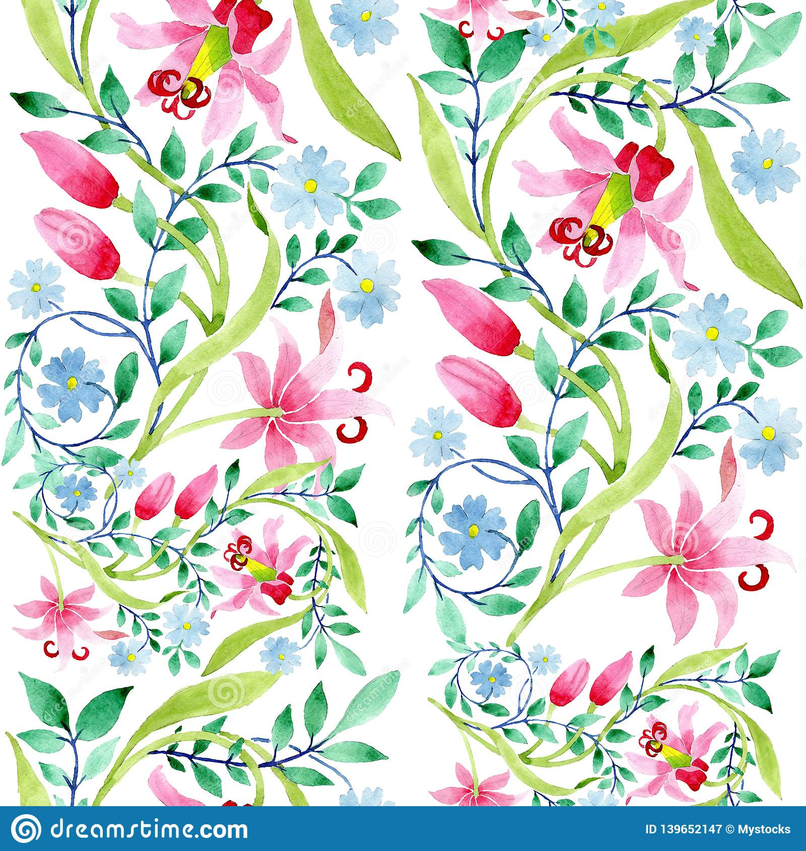 Ornament Pink And Blue Floral Botanical Flowers Watercolor