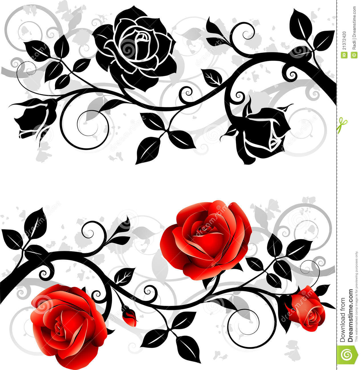 Ornament with roses