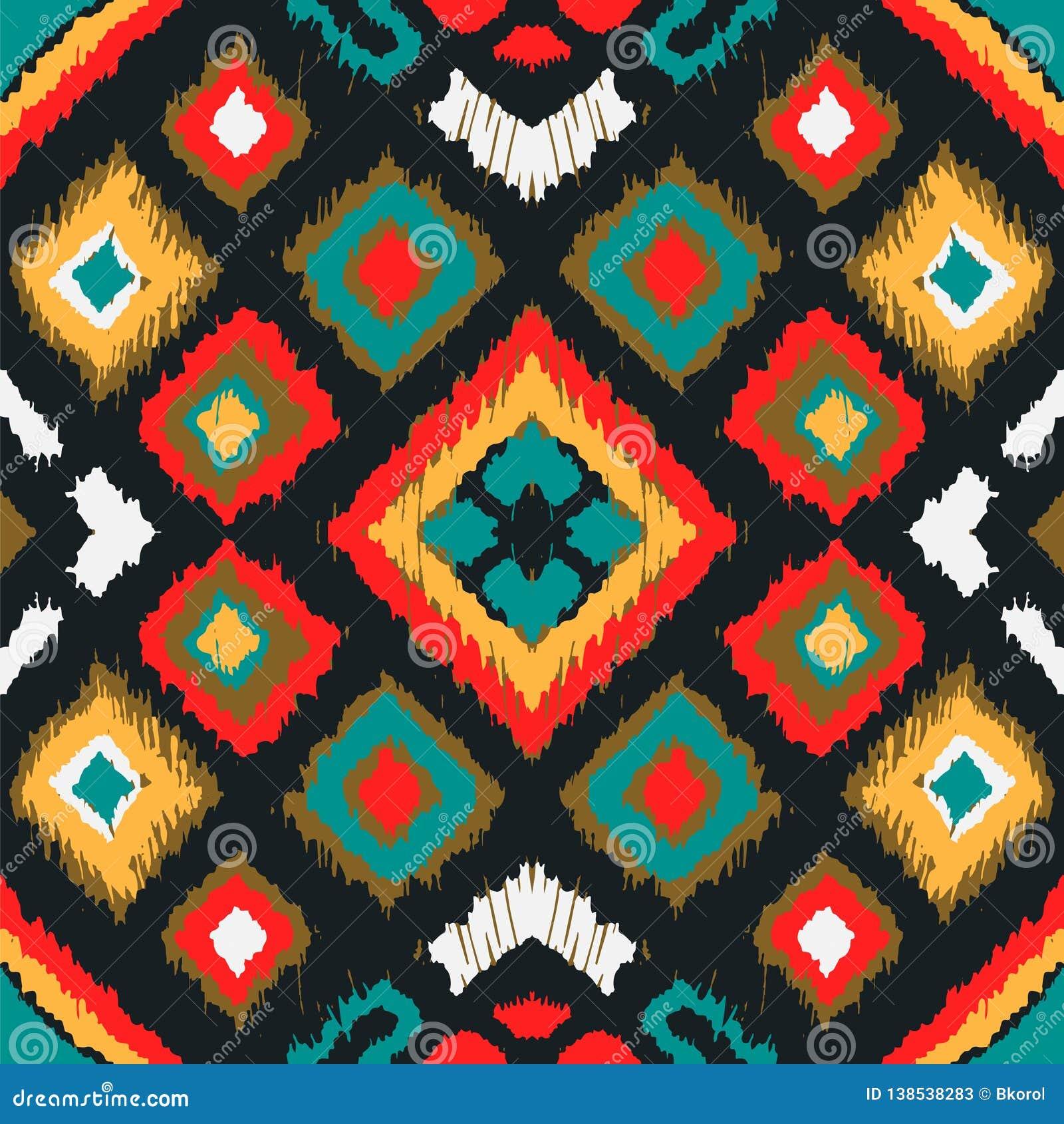 Ornament van de Ikat het geometrische folklore met diamanten Stammen etnische vectortextuur