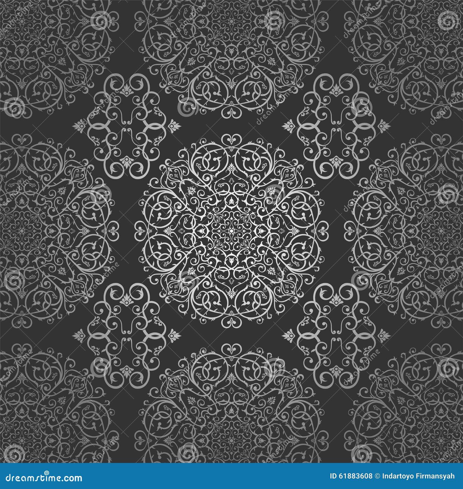 ornament van het de cirkel bloemen donkere zilveren patroon van de behang het arabische batik. Black Bedroom Furniture Sets. Home Design Ideas