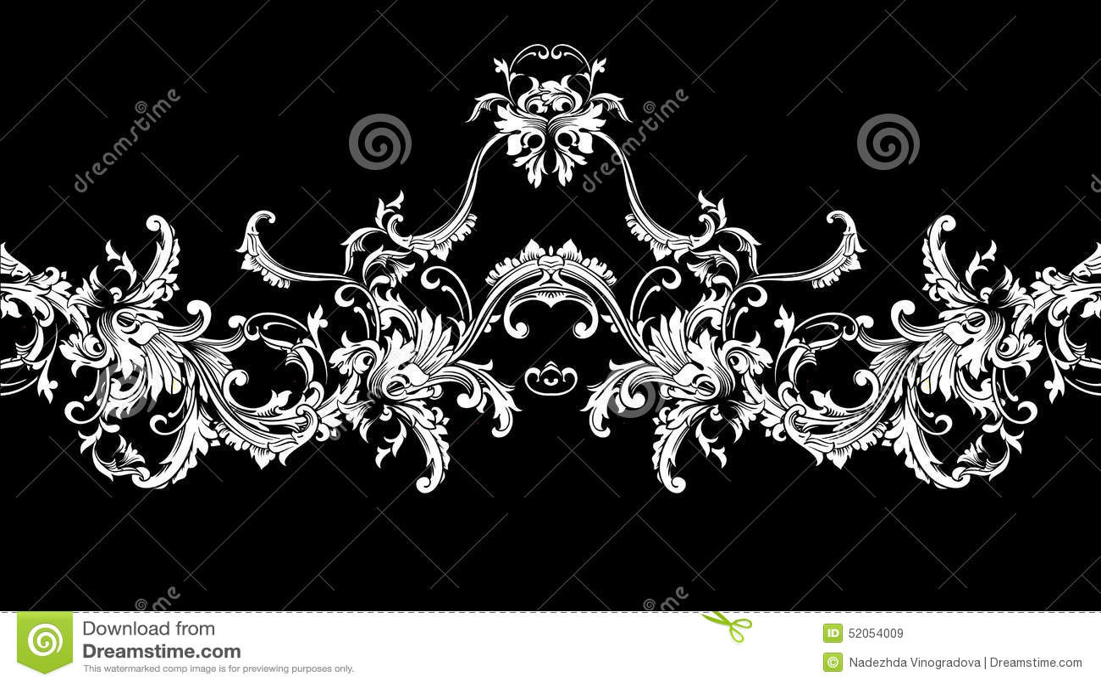 Ornamentacyjna granica, rama wzór baroku bezszwowy wektora