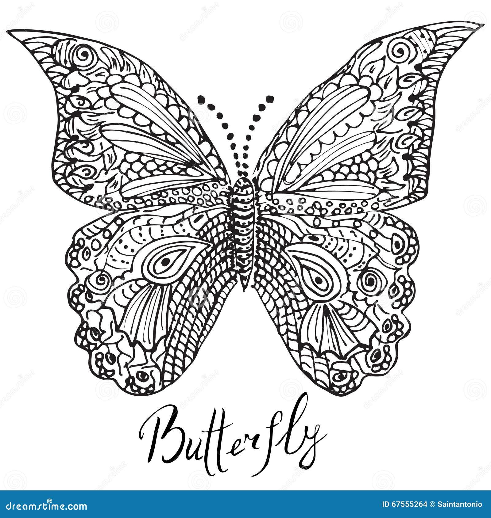 ornamentacyjna ręka rysujący nakreślenie motyl w zentangle