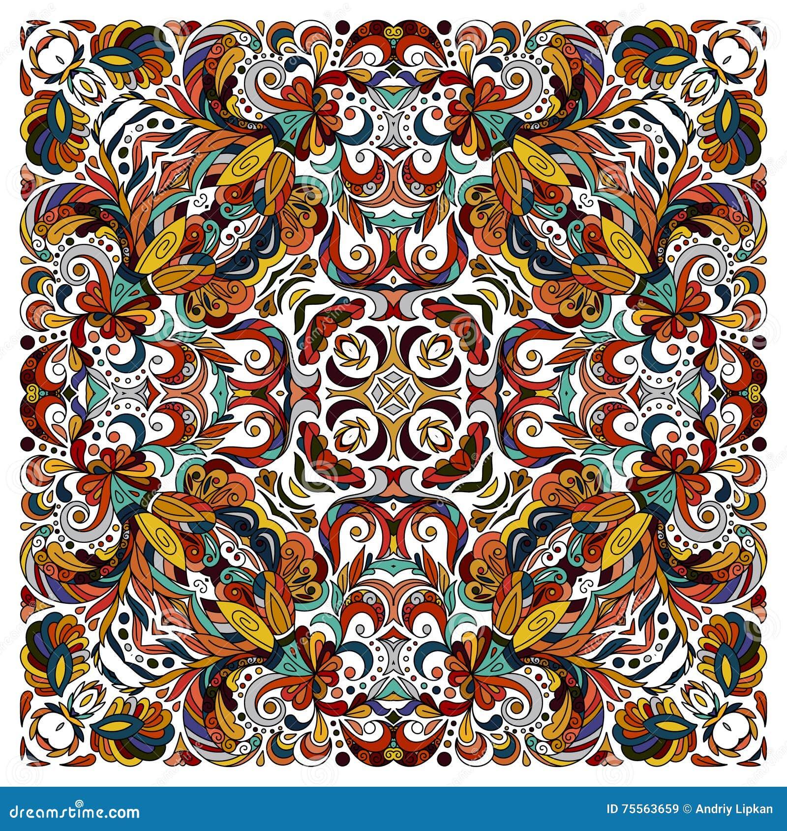 a95b866b73a5f1 Ornamentacyjnego doodle kwiecisty wzór, projekt dla kieszeń kwadrata,  tkanina, jedwabnicza chusta, poduszka, szalik Błękitnego brązu czerwony  wschodni ...