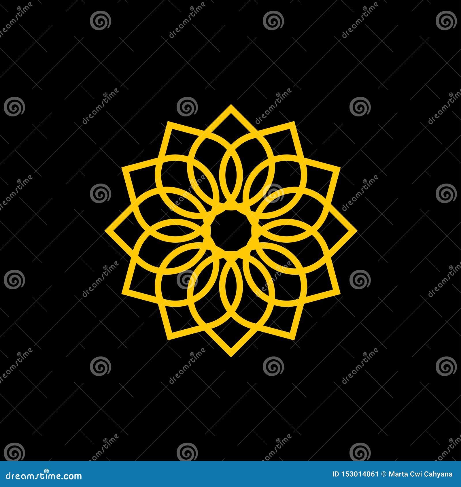 Ornamentacyjnej kwiat ikony logo Wektorowy szablon