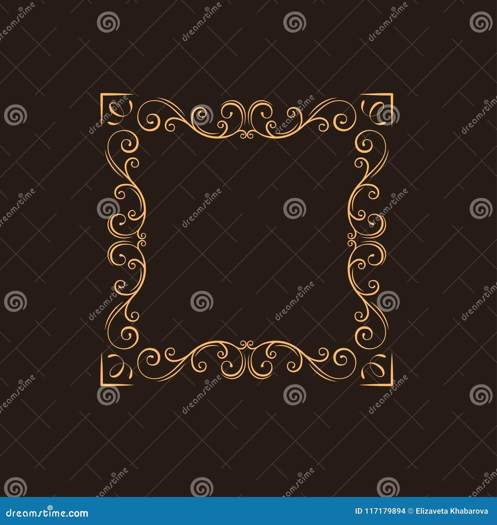 Ornamentacyjny kwiecisty ramowy Zawijasy, dekoracyjna granica Zawijas strony dekoracja ilustracyjny lelui czerwieni stylu rocznik