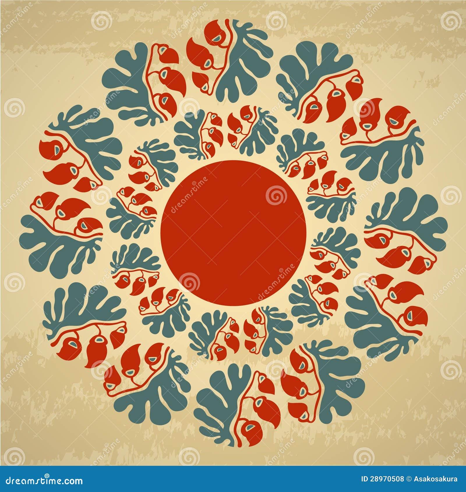 Ornamentacyjny round kwiecisty wzór z tekst ramą