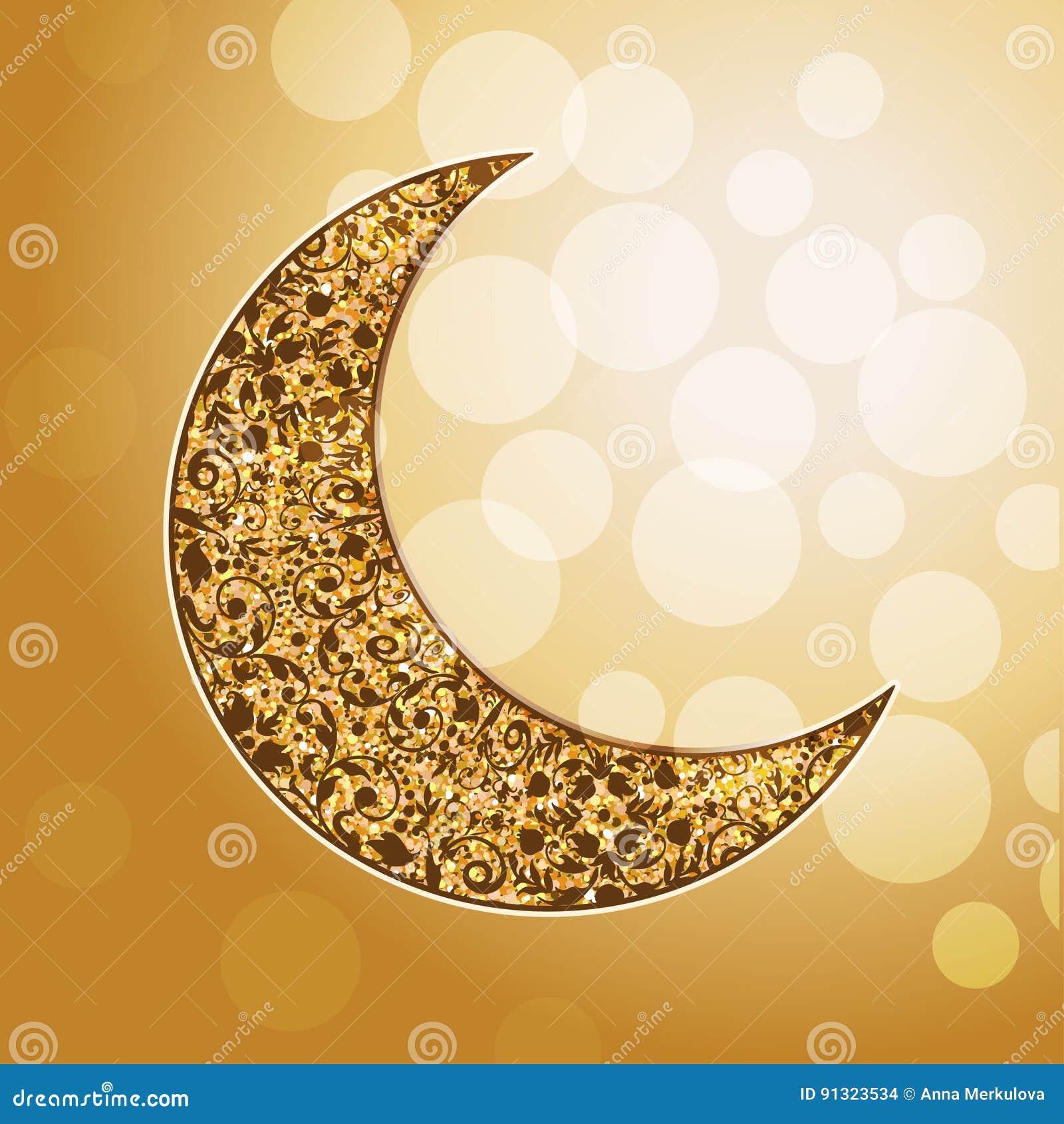 Ornamental arabic golden moon. Bokeh lights.
