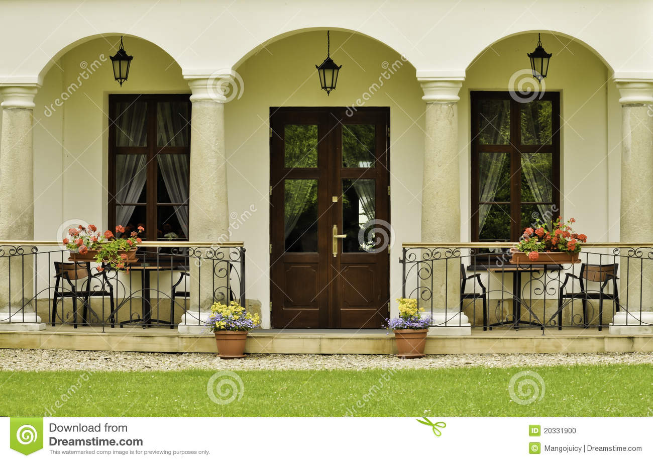 Ornamental backyard entrance to the manor house stock photo