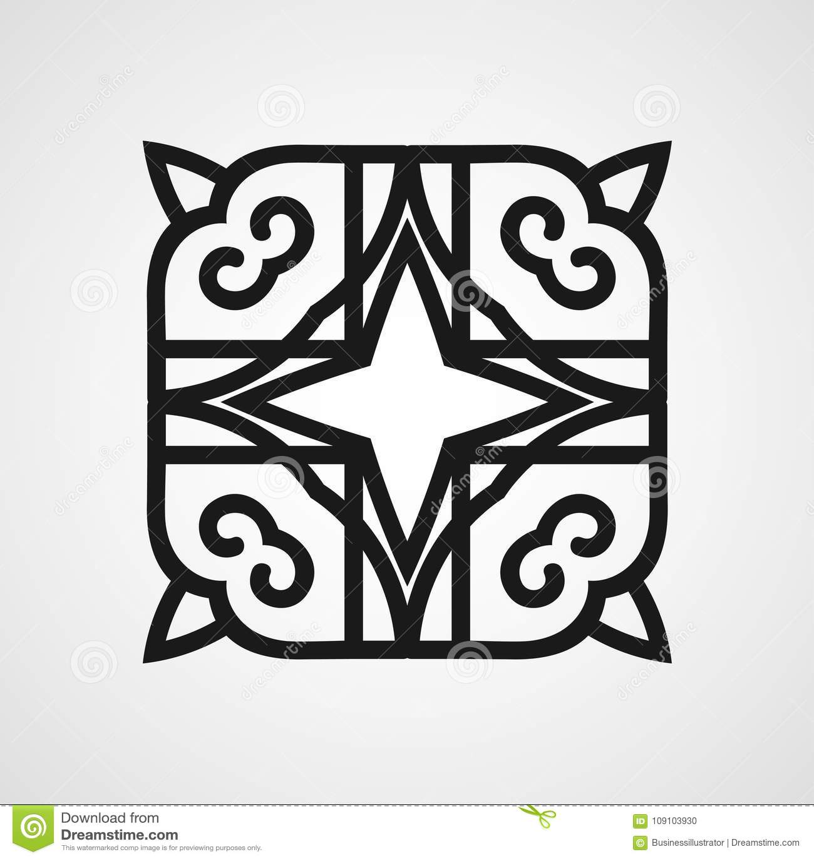 Ornamental black logo stock vector. Illustration of embroidery ...