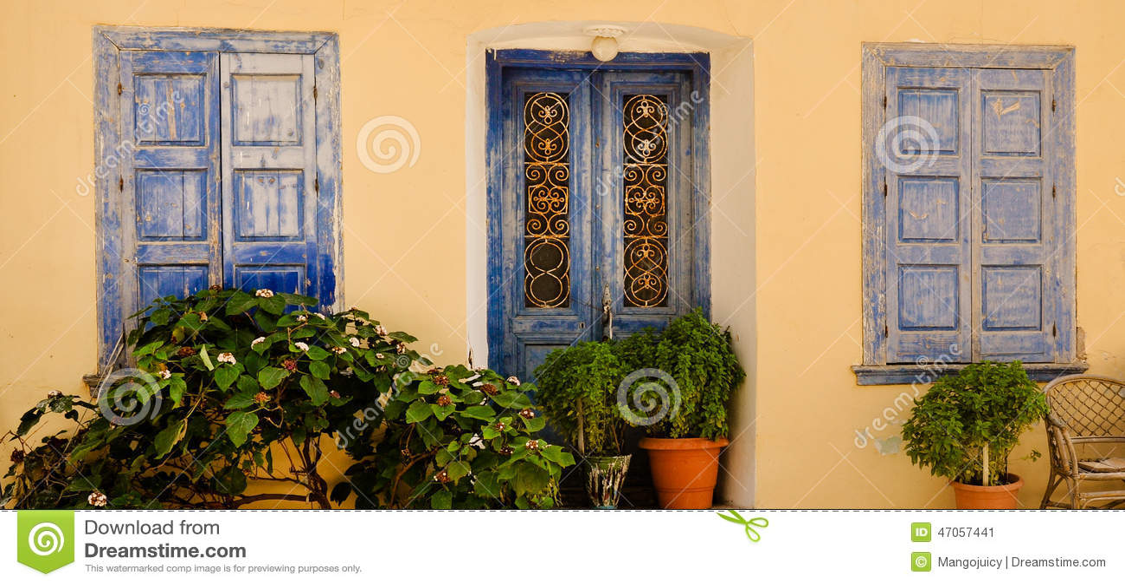 Ornamental blue doors and windows, Samos, Greece