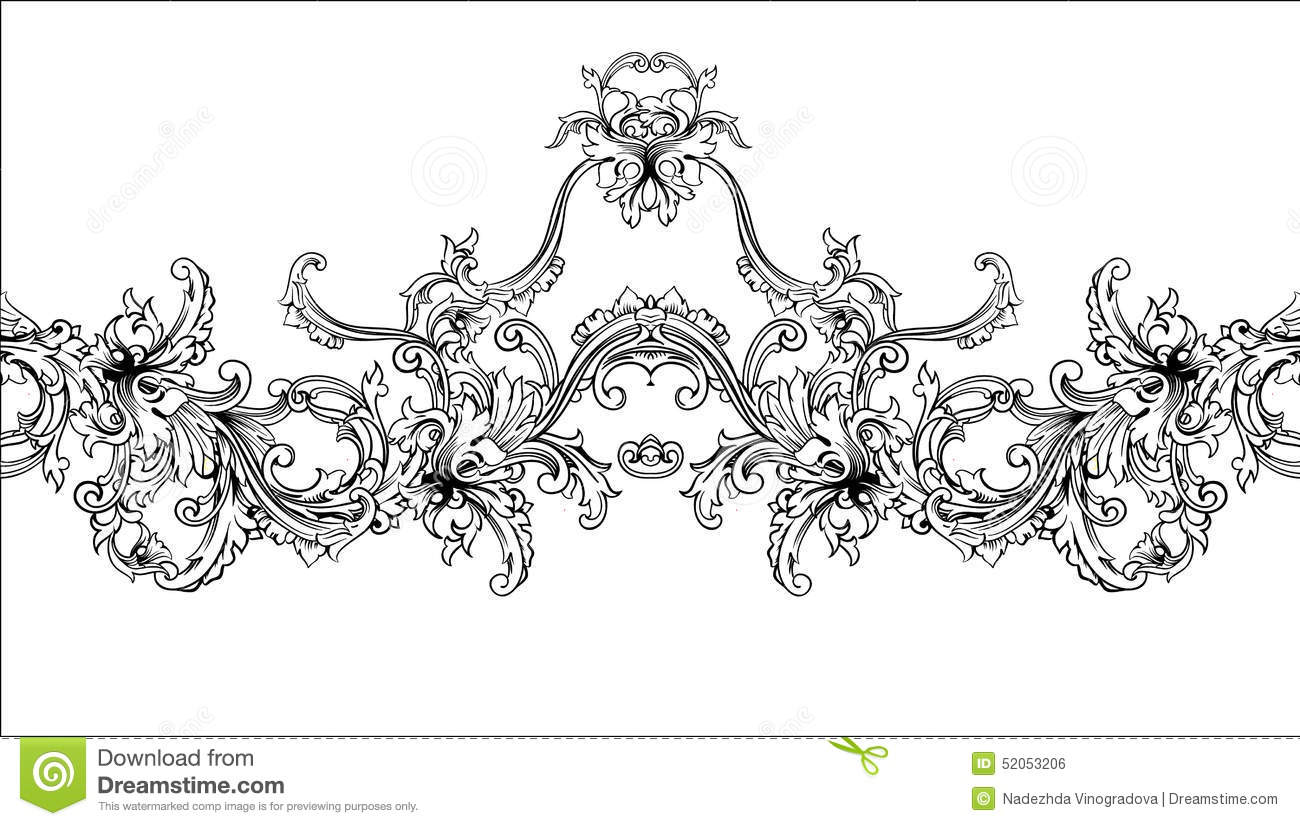 Ornamental border frame baroque pattern vector seamless for Baroque architecture elements