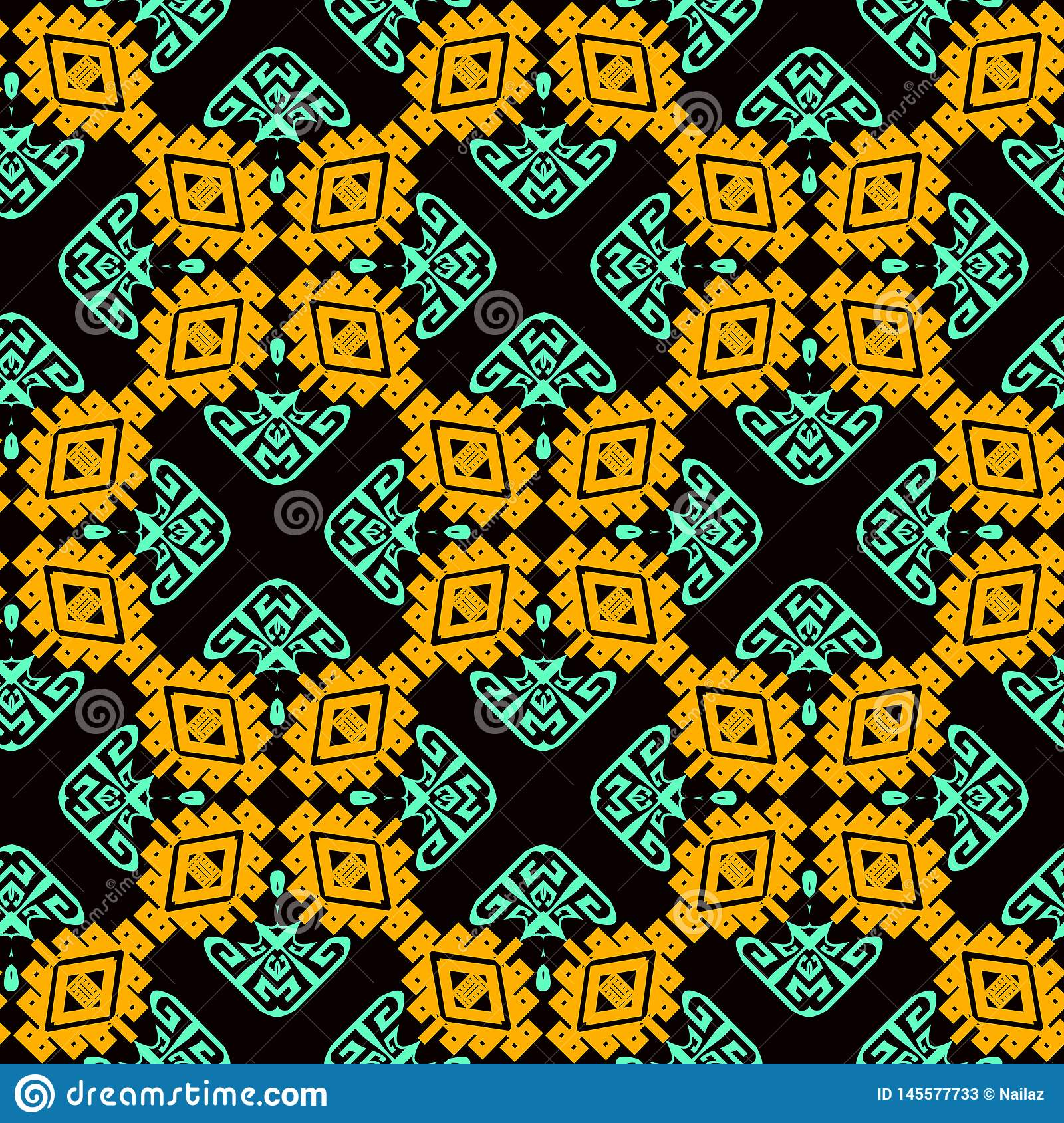 Ornamental colorful tribal vector seamless pattern. Ethnic style patterned geometric background. Repeat tiles backdrop. Greek key