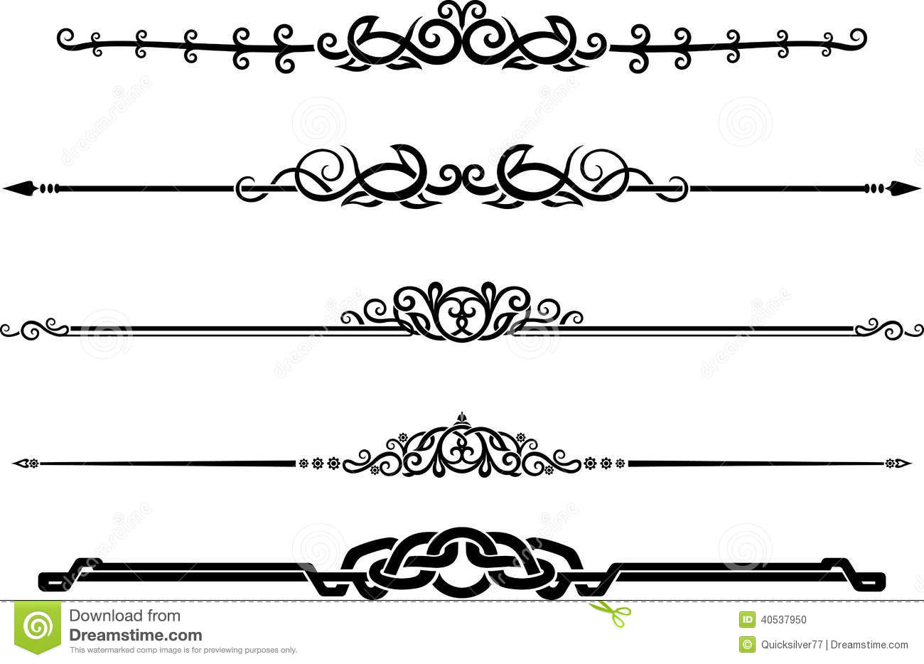 Ornamental Decor Page Rule Set Stock Illustration - Illustration of page, decoration: 40537950
