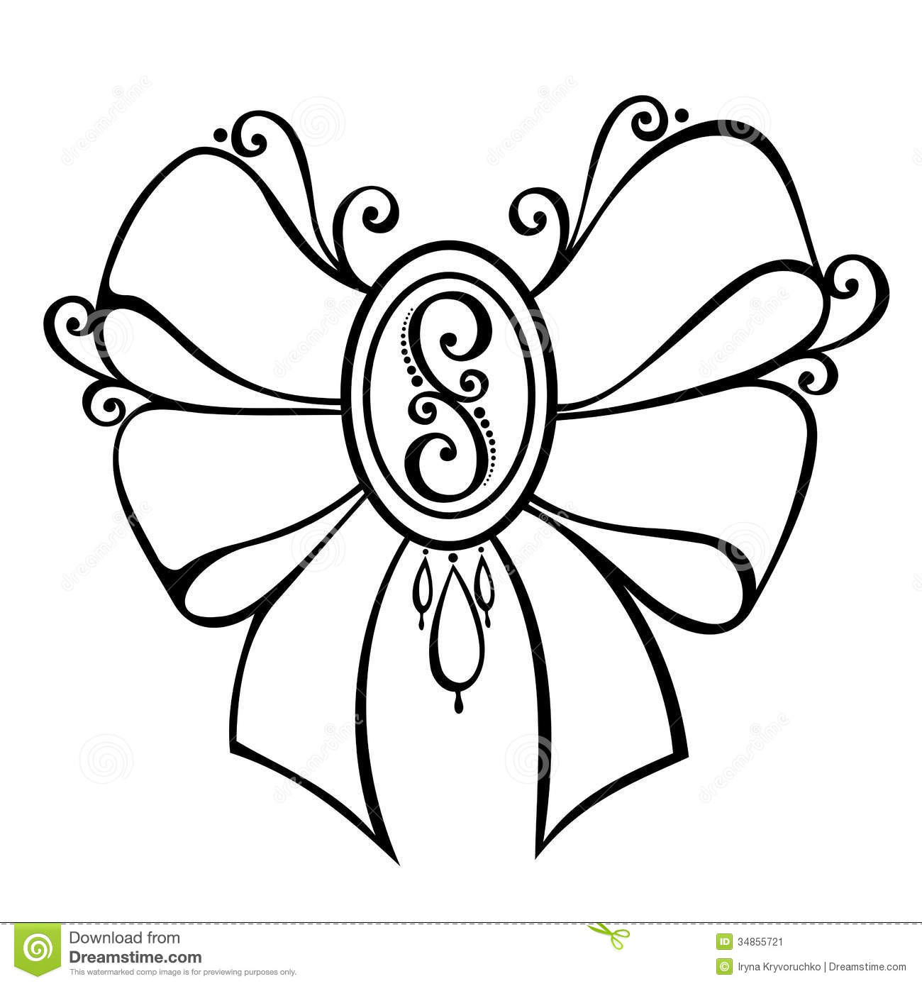 Ornamental Decorative Bow With Brooch Stock Vector Image