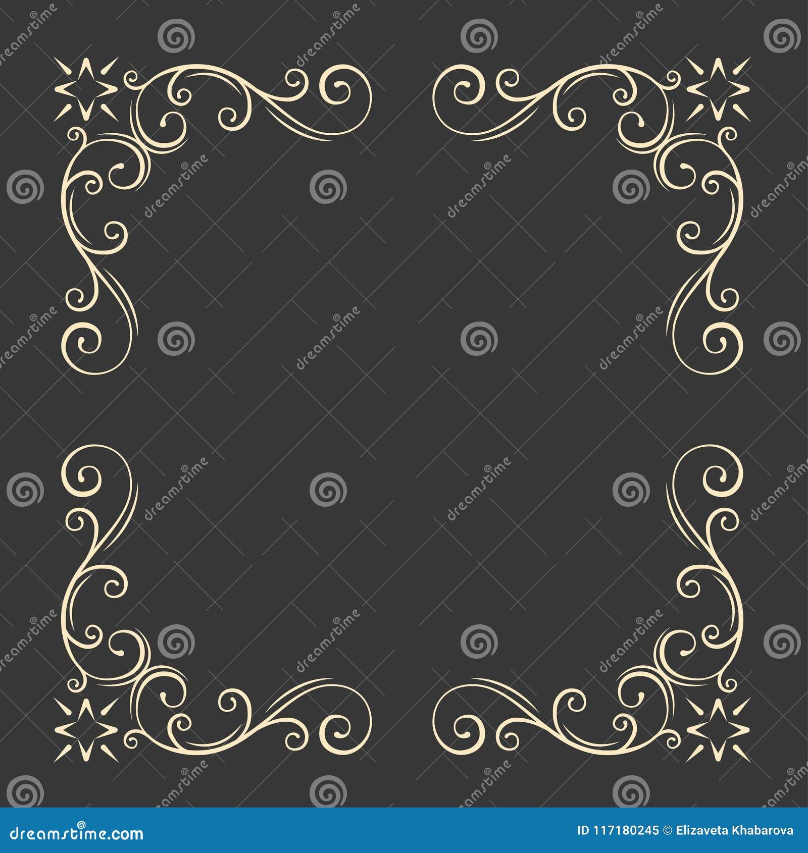Ornamental decorative frame. Swirls, floral filigree elements. Vintage style. Wedding invitation, Greeting card design. Vector.