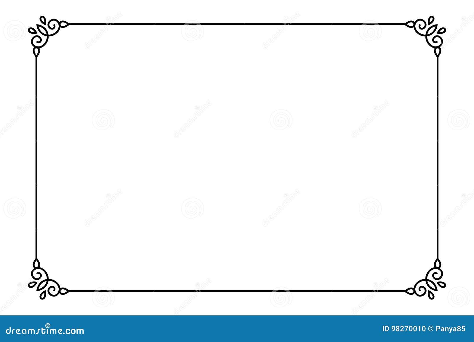 Ornamental Decorative Page Frame  Vector Line Style Border