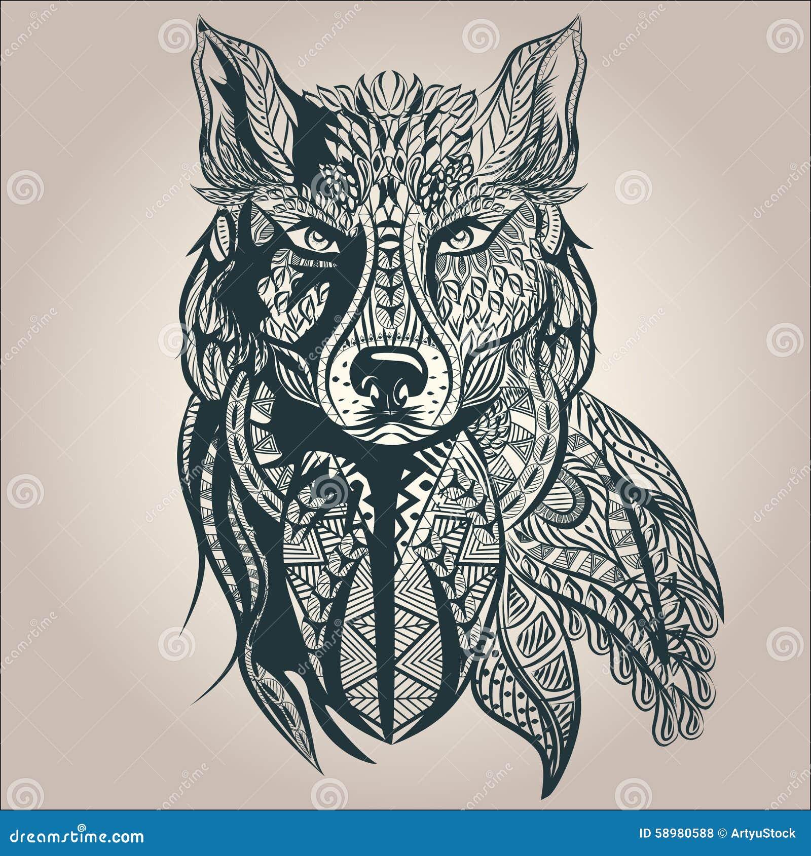 Ornamental Decorative Wolf Predator Pattern Stock Vector