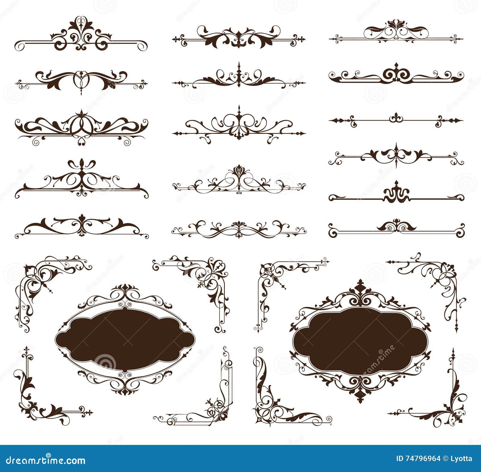 Ornamental design borders and corners Vector set of vintage ornaments