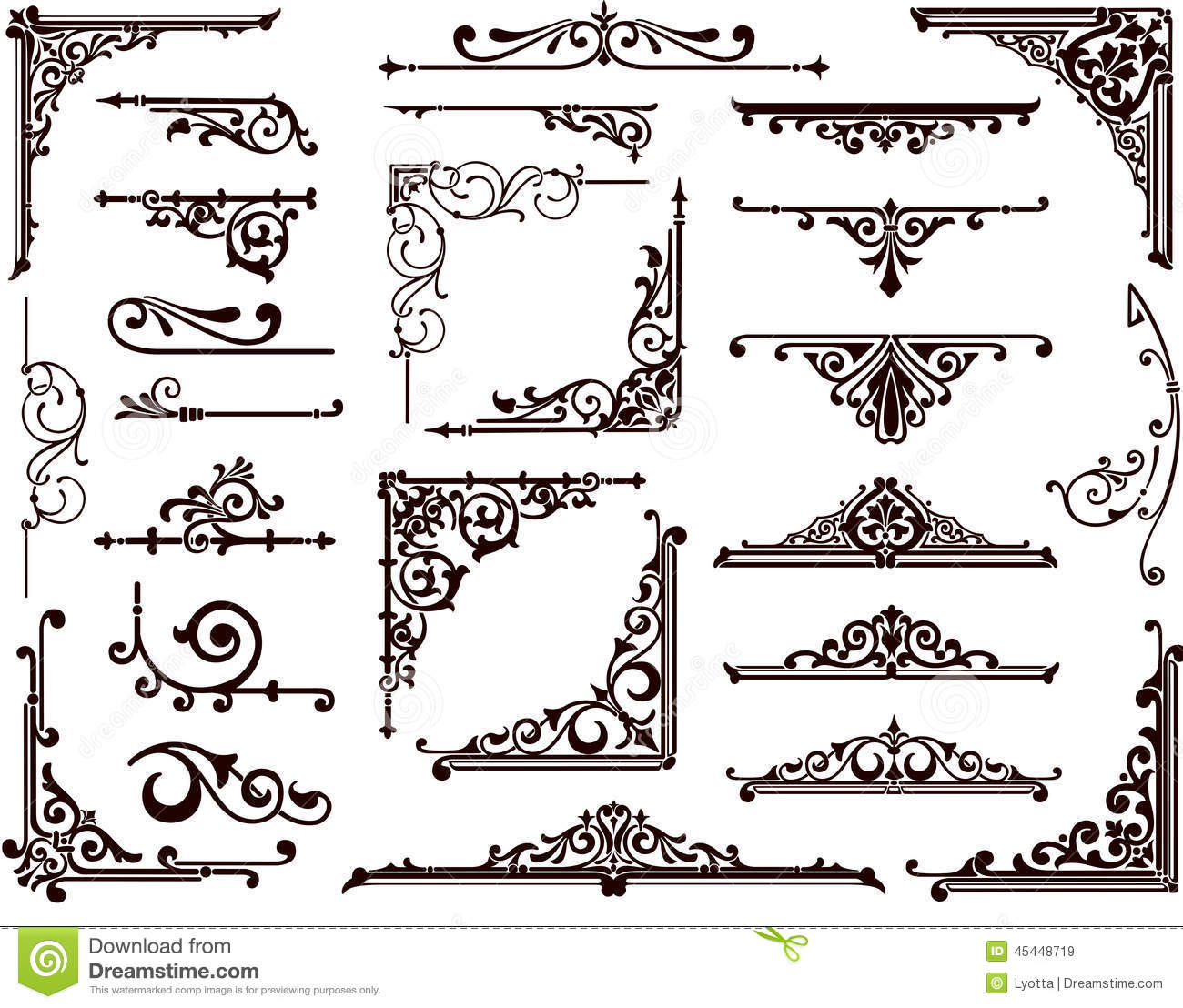 Vector Set Vintage Ornaments, Corners, Borders Stock Vector ...