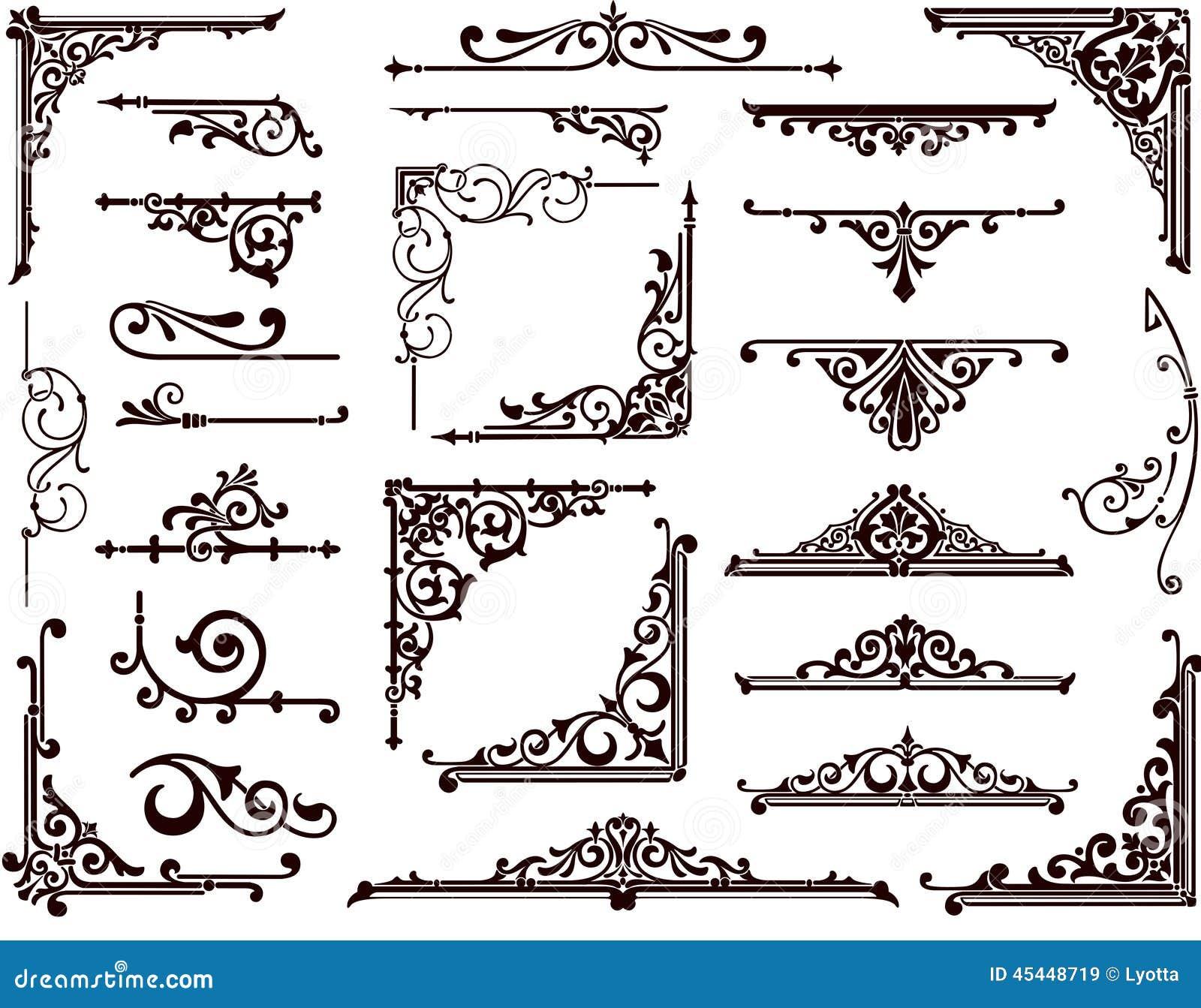 Ornamental Design Borders And Corners Stock Vector - Image: 45448719