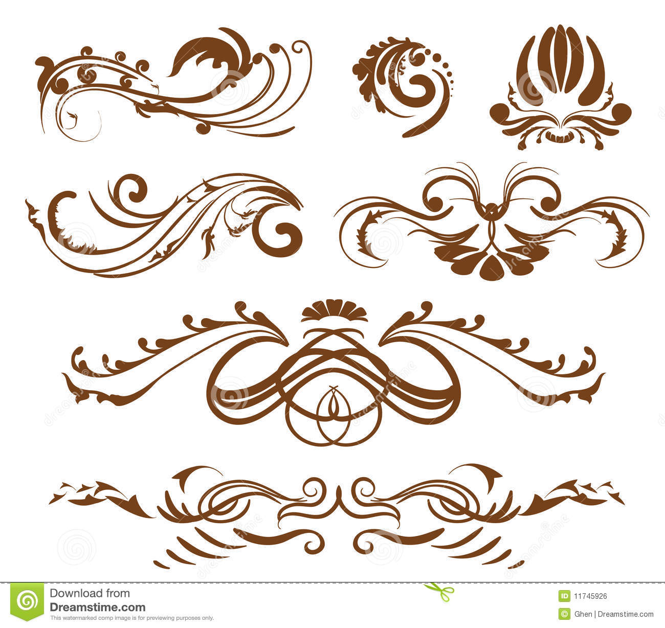 ornamental design elements stock vector image of branch 11745926