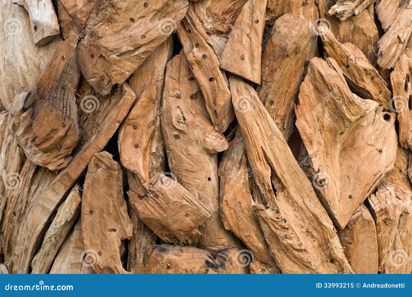 Ornamental dried wood pieces