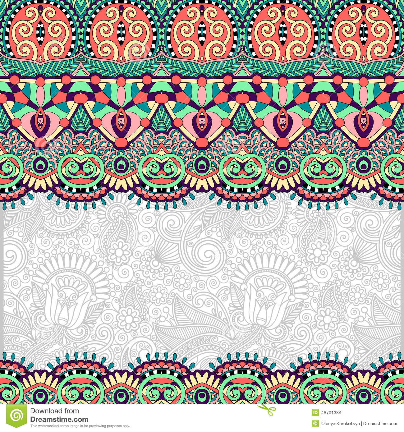 Ornamental Floral Folkloric Background For Stock Vector