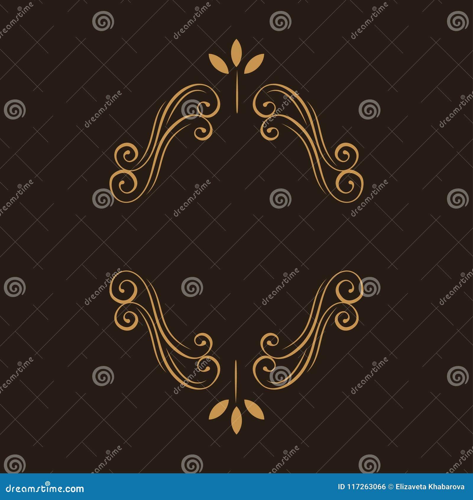 Ornamental floral frame. Page decoration. Swirls, flourish scroll design element. Wedding invitation, Greeting card. Vector.