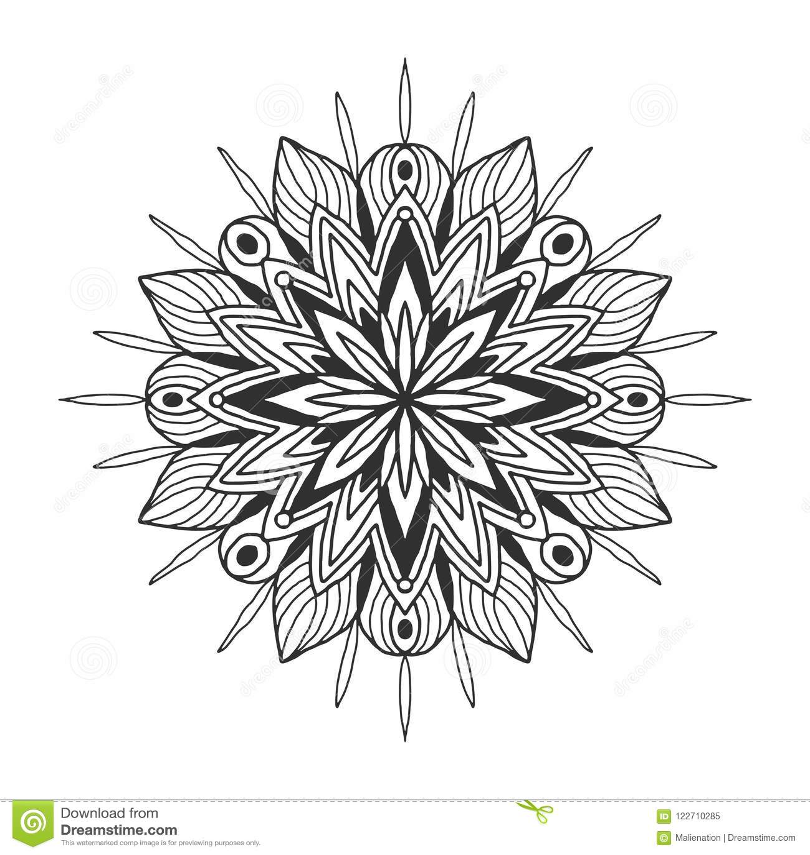 Ornamental Floral Mandala. Snowflake Ornament Pattern. Vector For ...