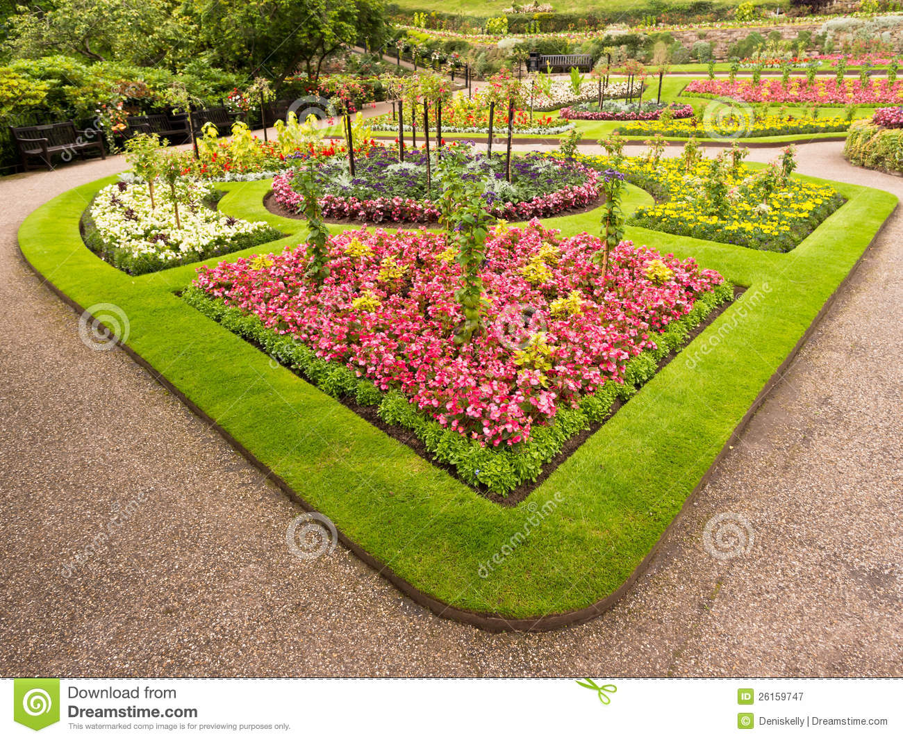 Ornamental flower bed royalty free stock photography for Ornamental trees for flower beds