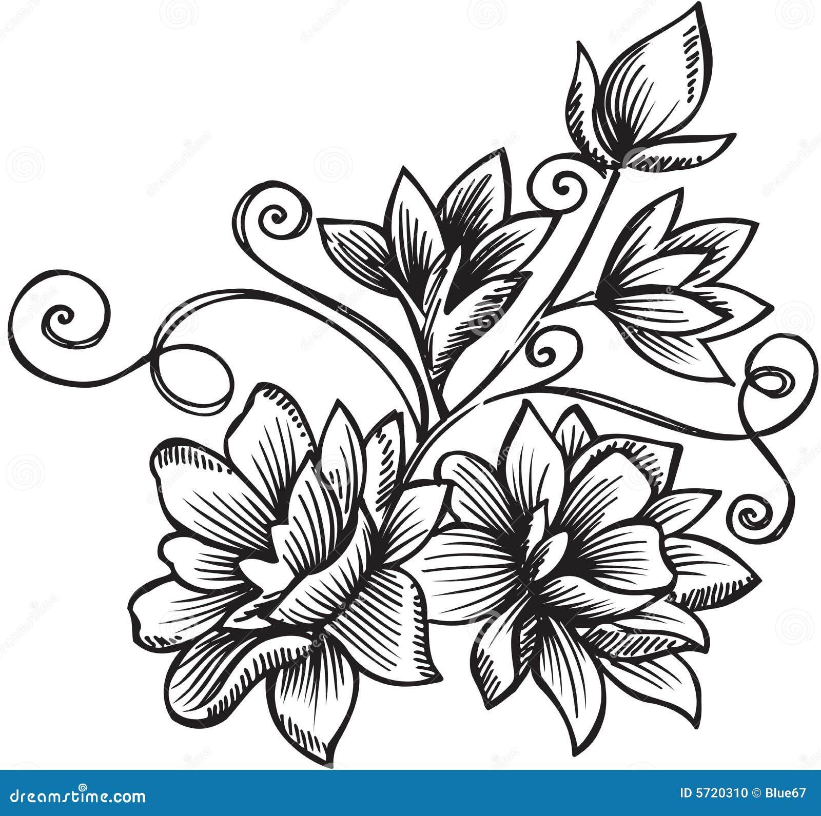 Ornamental Flower Bouquet Vector Illustration Stock Vector
