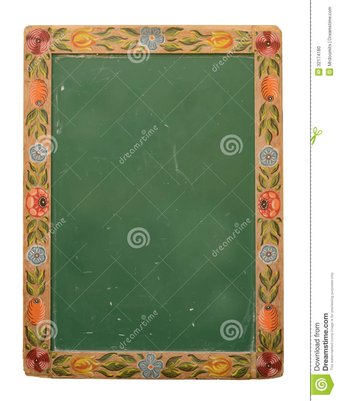 Ornamental Flower Design Blackboard Stock Photo