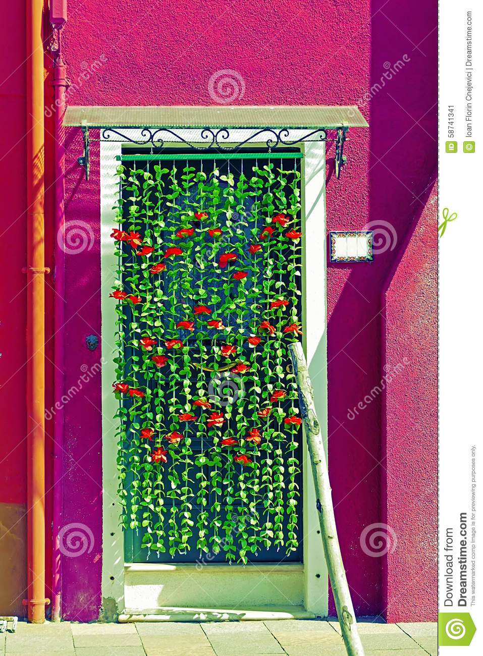 Ornamental flowers curtain at the entrance of a house