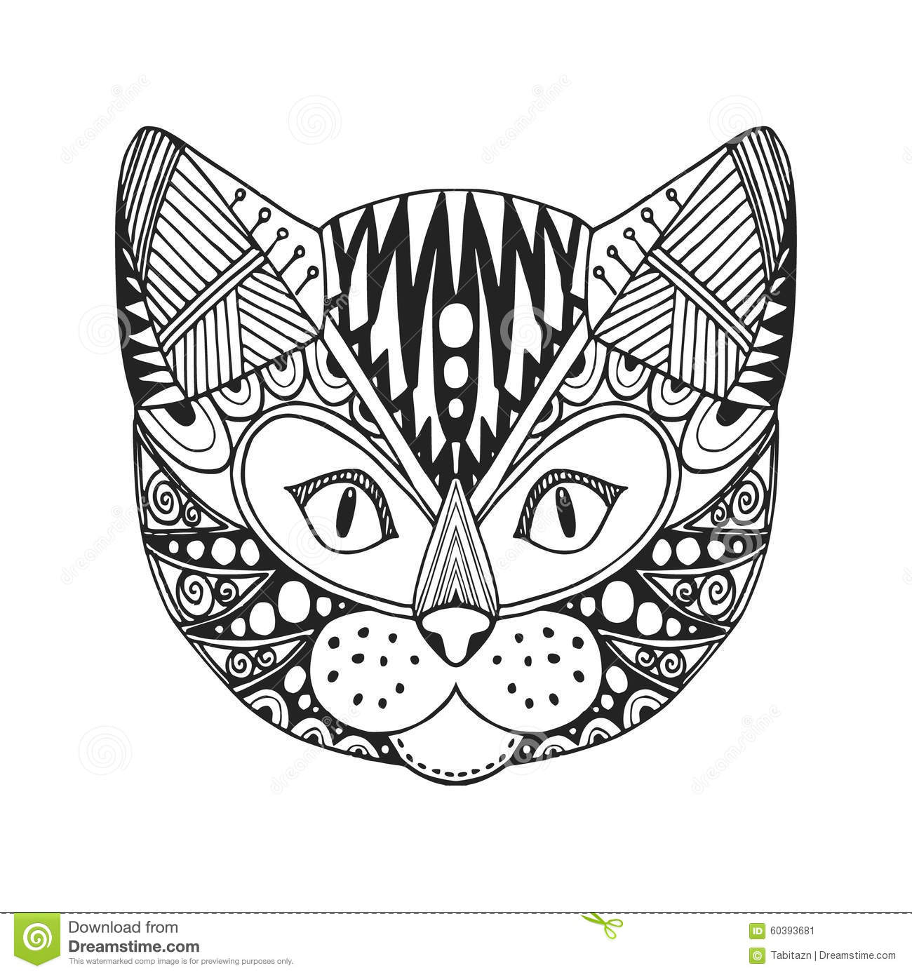 Ornamental Head Of Cat Trendy Ethnic Zentangle Design