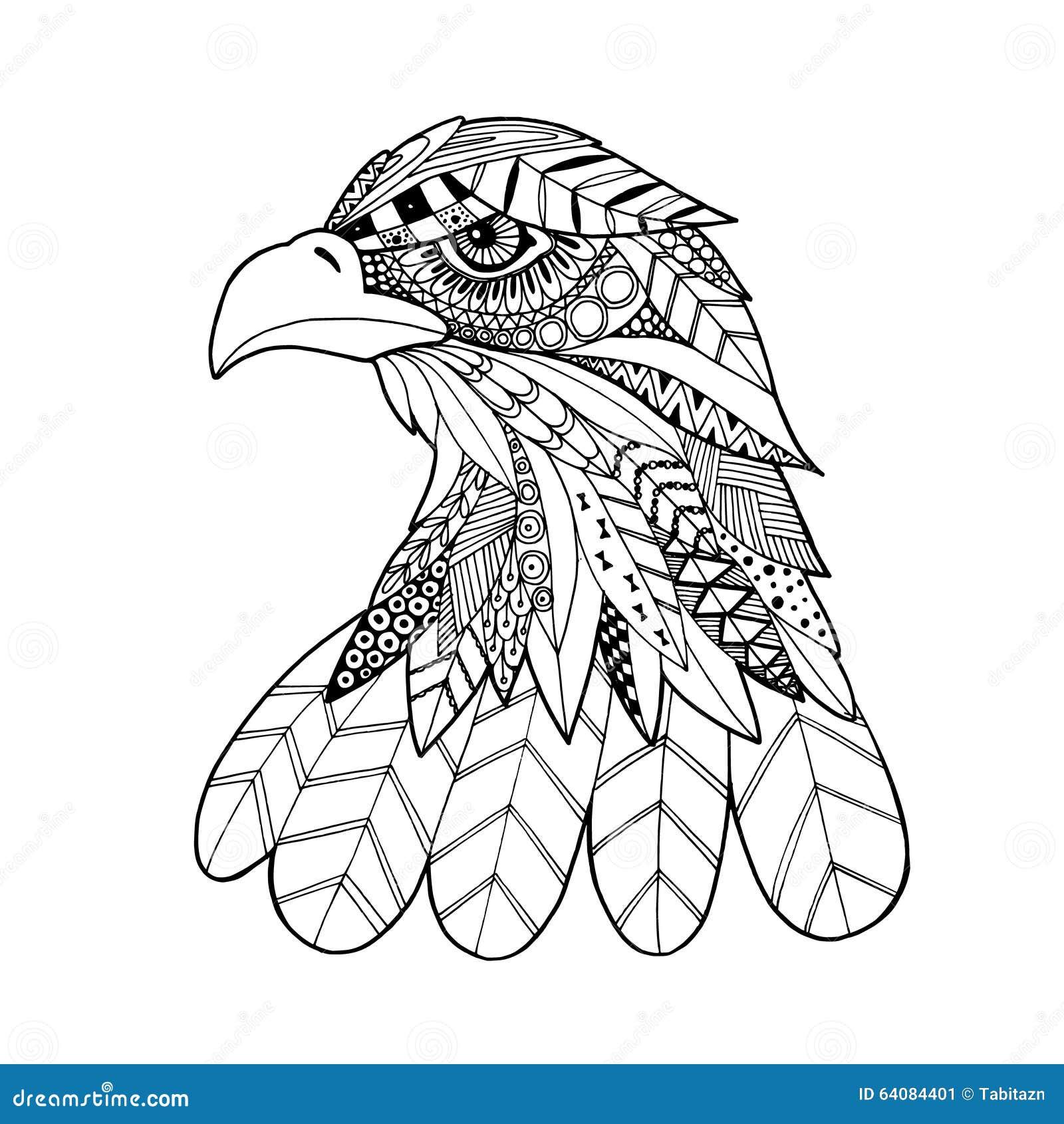 Kleurplaat Xl Ornamental Head Of Eagle Bird Trendy Ethnic Zentangle