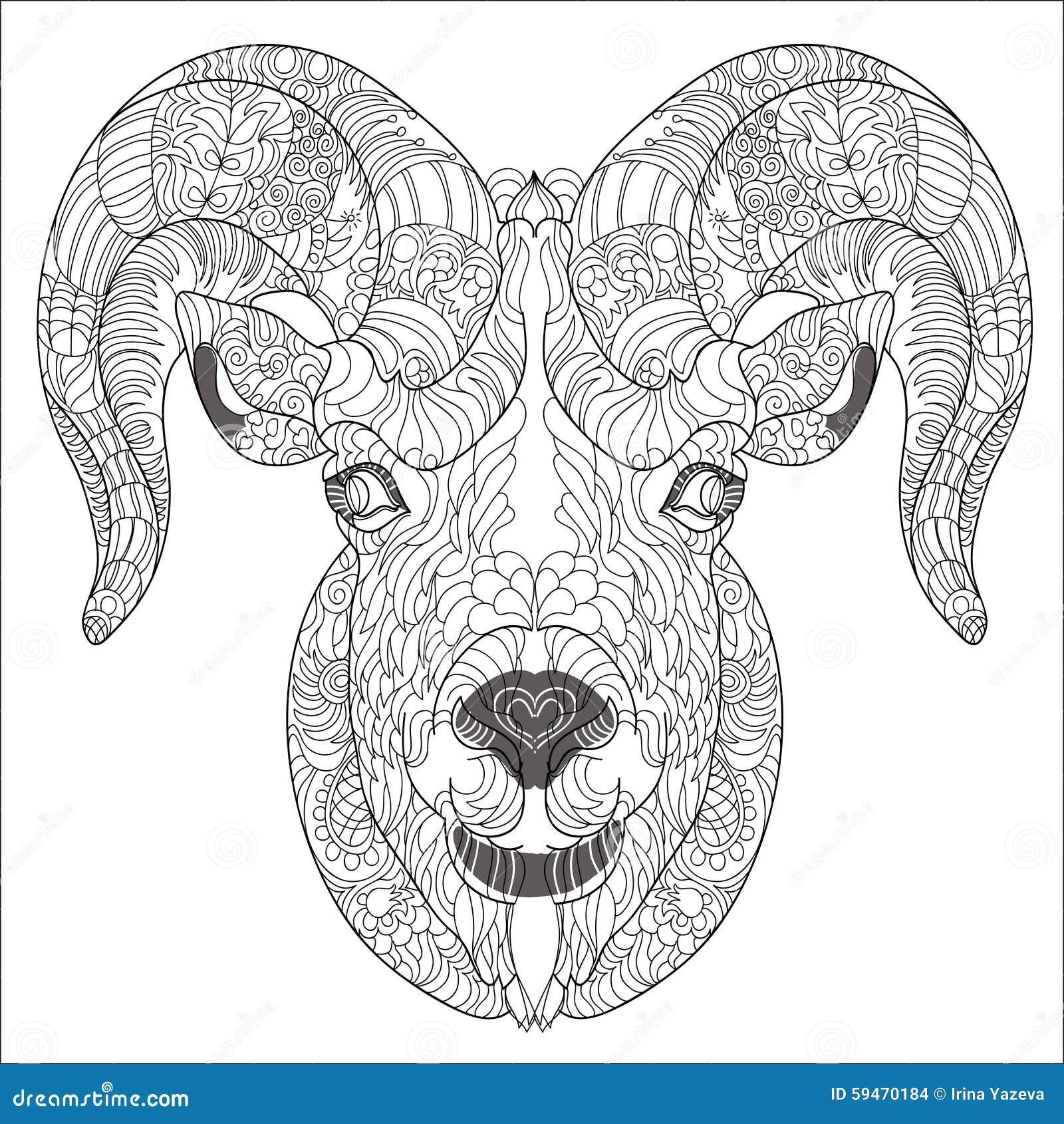ornamental head of goat or ram stock vector image 59470184