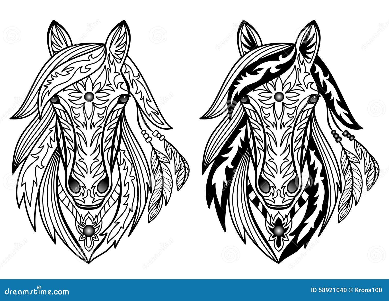 Vector Illustration Web Designs: Ornamental Horses Stock Vector. Illustration Of Symbol