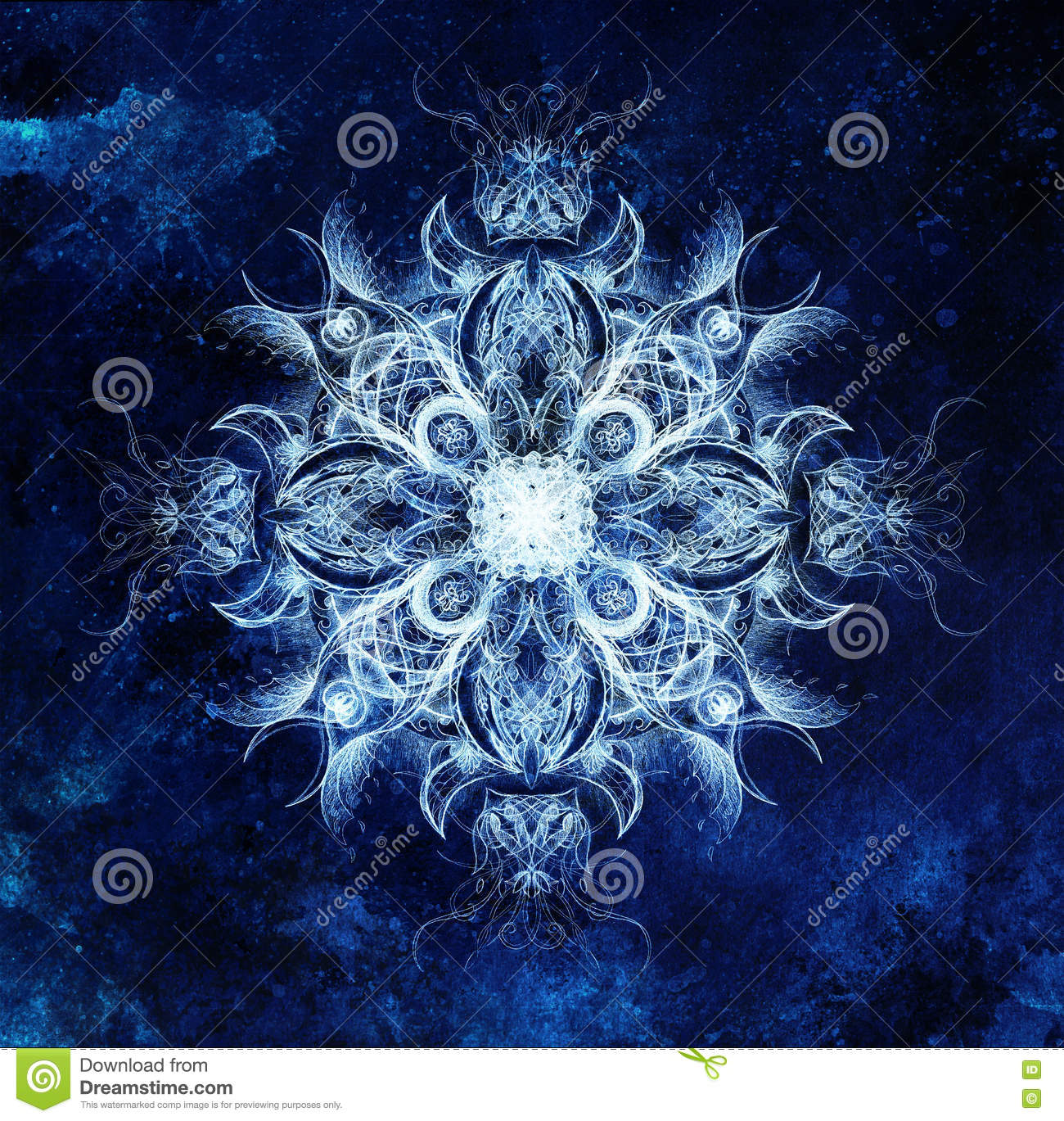 Download Ornamental Mandala Original Hand Draw And Computer Collage Blue Color Structure Winter