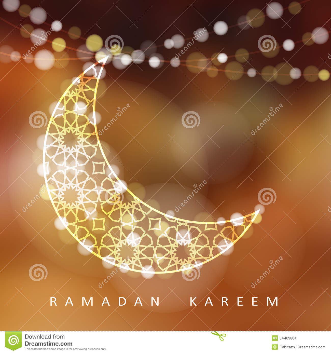 Ornamental moon with lights, Ramadan illustration