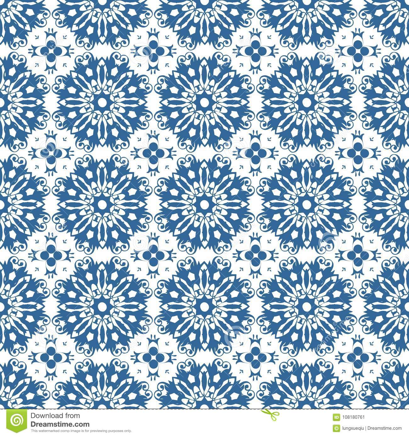 Ornamental Oriental Blue Floral Beautiful Royal Vintage Spring Abstract Seamless Pattern Texture Wallpaper