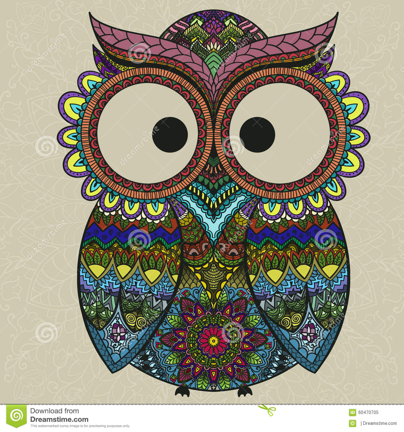 Ornamental Owl On The Patterned Background Stock Vector