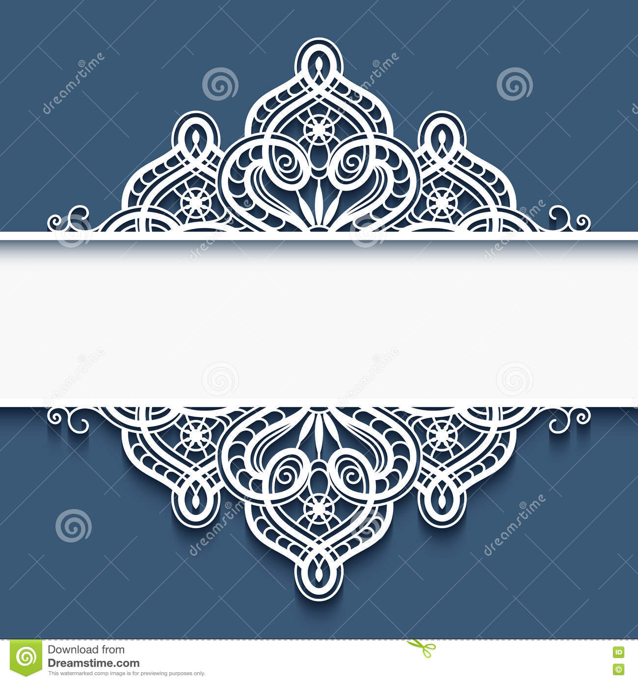 ornamental paper frame with lace border stock vector