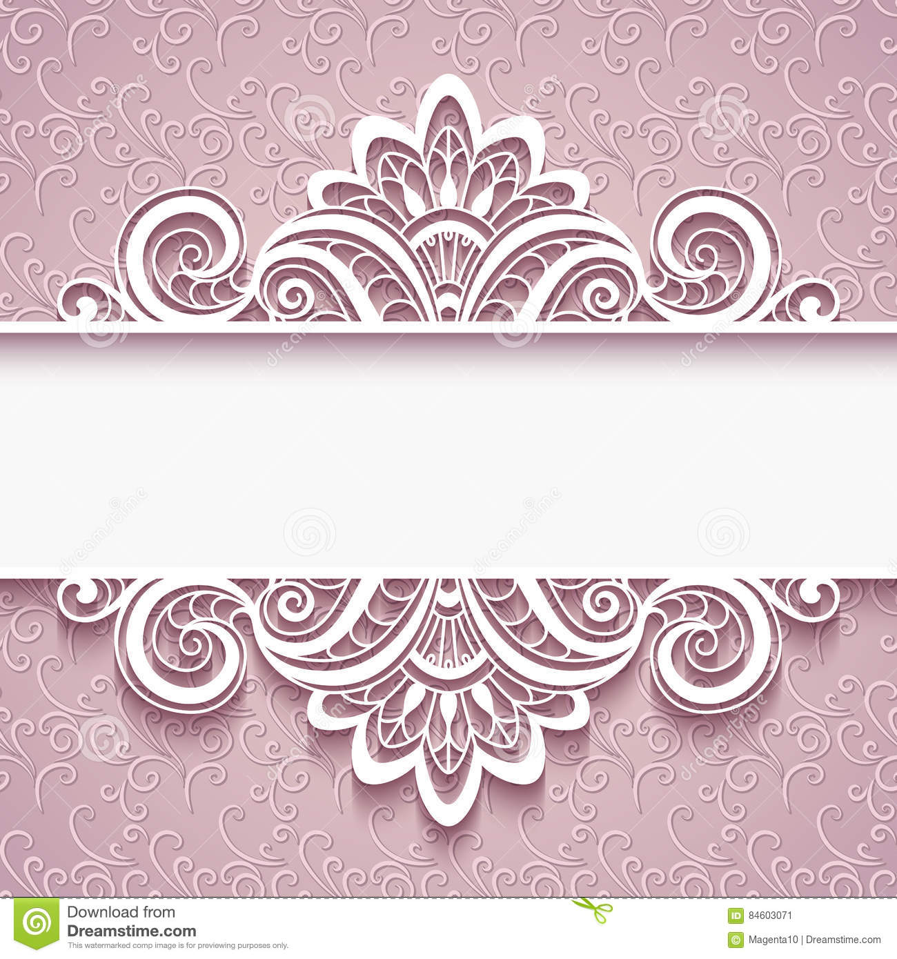 Wedding Boarder Paper: Cutout Paper Frame With Border Ornament Cartoon Vector
