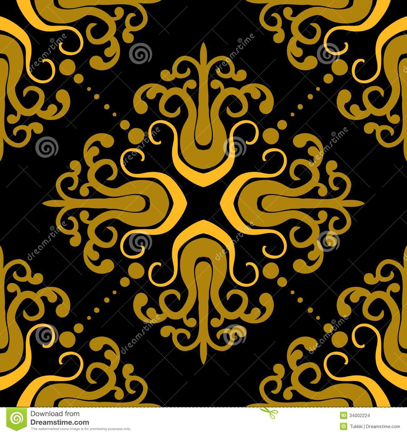 Ornamental pattern with damask motifs stock vector image for Fabric mural designs