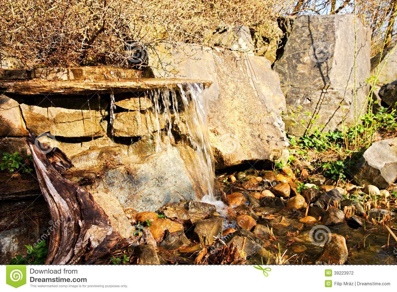 Ornamental pond in garden stock photo image 39223972 for Ornamental pond waterfall