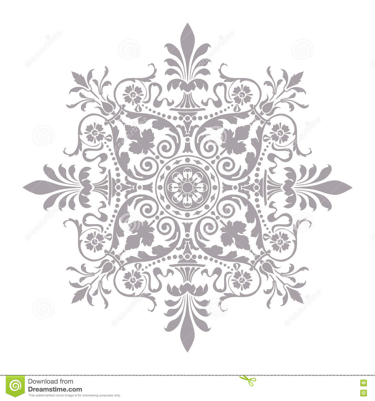 Floral Art Line Design : Ornamental round floral pattern decorative line art frame