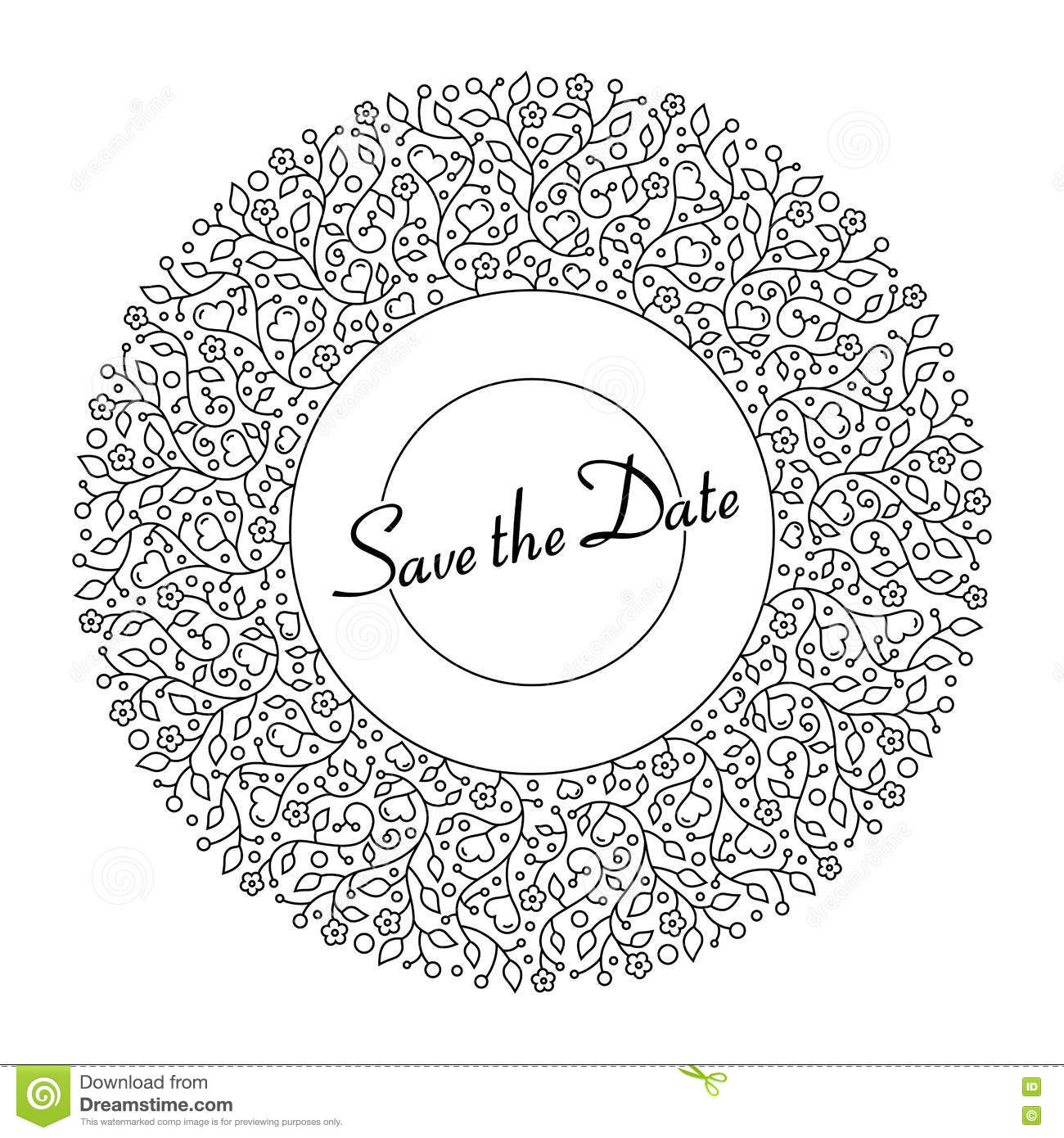 Ornamental Round Floral Pattern For Wedding Invitations And Gree ...