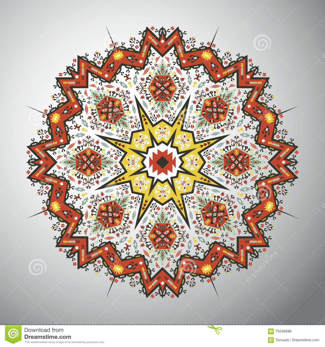 Ornamental round geometric pattern in latin american style for South american decor