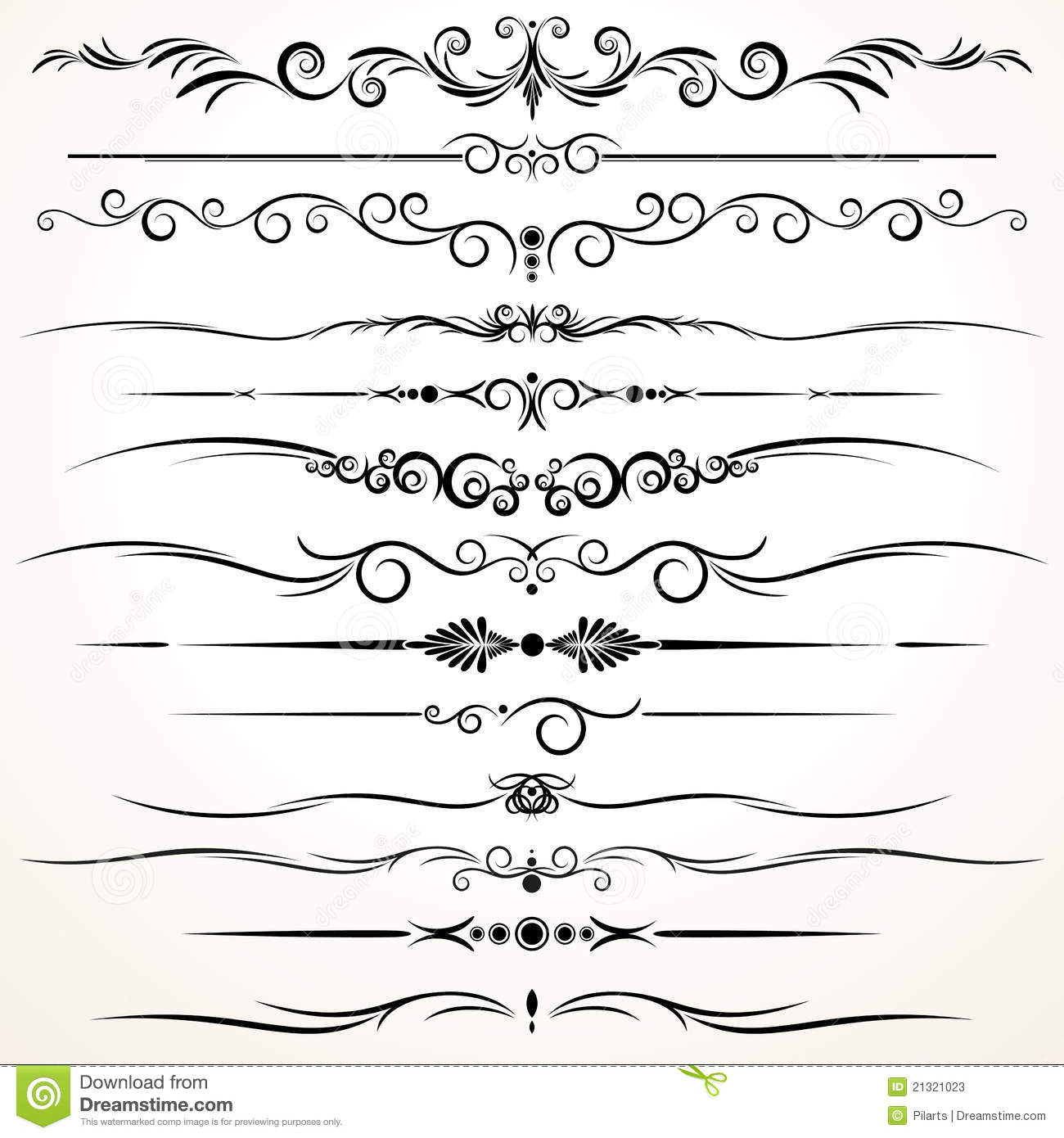 Line Drawing Styles : Ornamental rule lines in different design stock photos